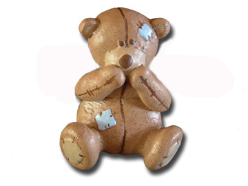 Scruffy Bear  Brown Doorknob Blue Accents