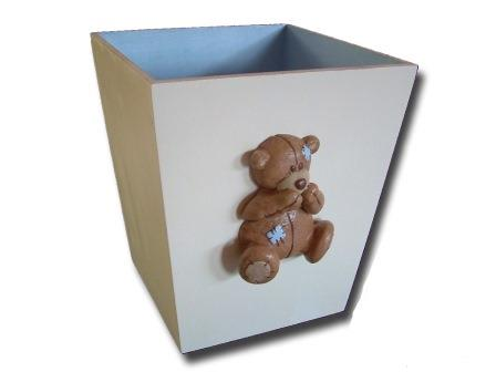 Scruffy Bear Brown  Bin Blue Accents