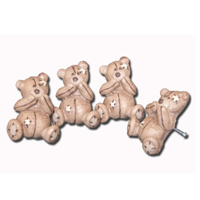 Scruffy Bear Brown  Doorknobs Pink Accents
