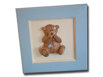 Scruffy Bear Brown 3D Pic(M) Blue Accents
