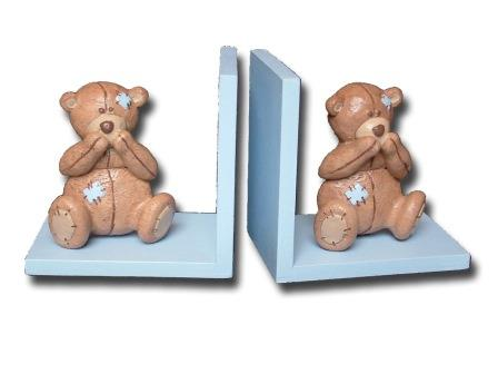 Scruffy Bear Brown Bookends Blue Accents