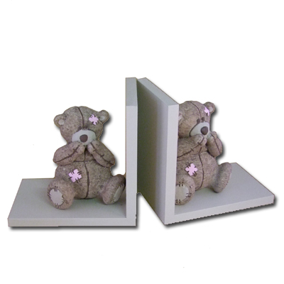 Scruffy Bear Brown Bookends Pink Accents